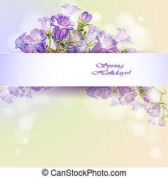Spring flowers invitation template