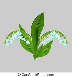 Spring flowers. Lilies of the valley vector sketch