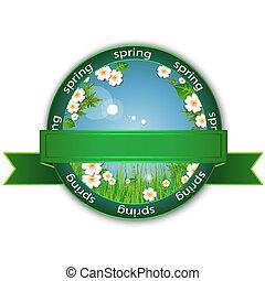 Spring flowers logo - Ecological emblem or logo.Round banner...