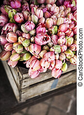 Spring flowers on a stall