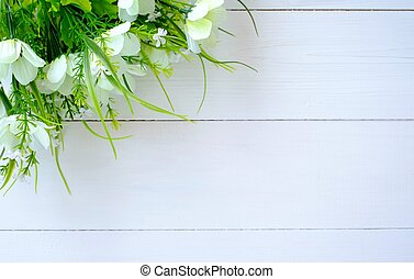 Spring flowers on the table, background