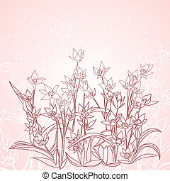spring flowers outlines on pink