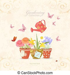 spring flowers planted in ethnic flowerpots with a vintage can w