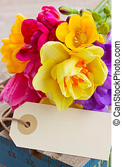 spring flowers posy with blank tag - fresh spring flowers...