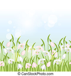 Spring flowers snowdrops seamless pattern horizontal border.
