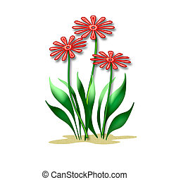 spring flowers - colorful red flowers and leaves on white...