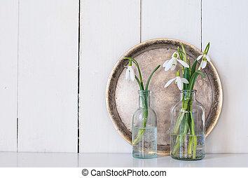 spring flowers - White spring flowers snowdrops in vintage...