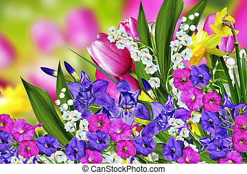 Spring flowers tulips and lilies of the valley