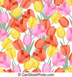 Spring flowers tulips natural seamless pattern.