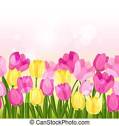 Spring flowers tulips seamless pattern horizontal border.