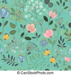 Spring Flowers. Vector Seamless Pattern