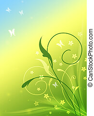 spring flowers with butterflys in blue, yellow and green