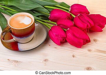 Spring Flowers with Coffee Cup Tulips for Mothers Day