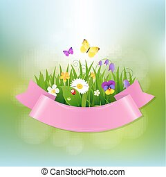 Spring Flowers With Pink Ribbon