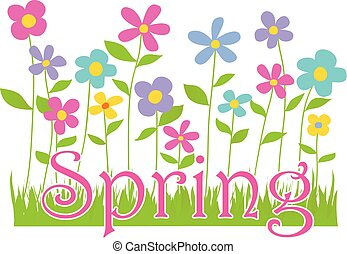 Spring Flowers with Text