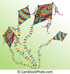 Vibrant colors spring flying kites. Vector file layered for easy manipulation and custom coloring.
