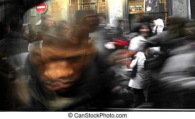 spring, folkmassa, fläck