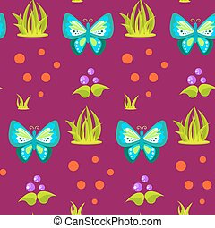 Spring forest blue butterfly seamless pattern.