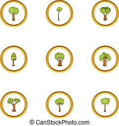 Spring forest icons set, cartoon style
