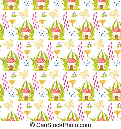 Spring forest mushroom home seamless pattern.