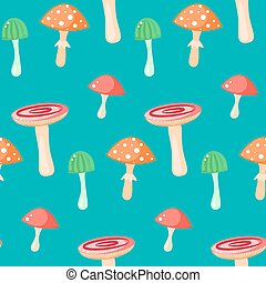 Spring forest russule mushroom seamless pattern.