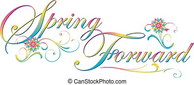 Spring Forward Text Banner with Flowers