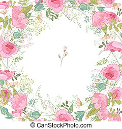 Spring frame with contour roses and different flowers. Template for your design, greeting cards, wedding announcements, posters.
