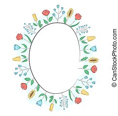 Spring frame with field flowers isolated on white