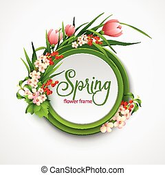 Spring frame with flowers. Vector