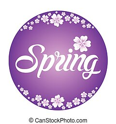 Spring frame with white flowers on violet background with lettering
