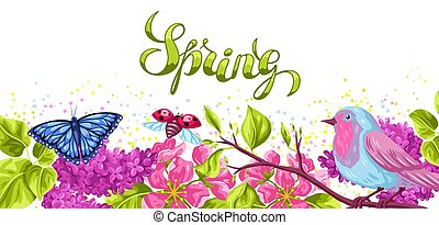 Spring garden background or greeting card. Natural illustration with blossom flower, robin birdie and butterfly