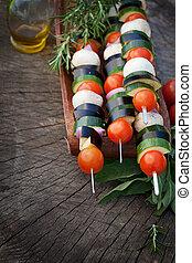 Vegetable kebab - Spring garden barbecue. Vegetable kebabs...