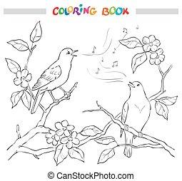 Spring garden composition. A bird sings on a bloom branch....