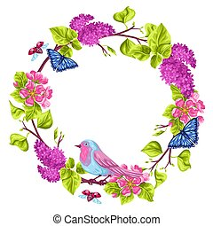 Spring garden frame. Natural illustration with blossom flower, robin birdie and butterfly