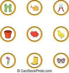 Spring garden icons set, cartoon style