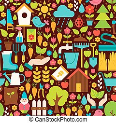 Spring Garden Vector Flat Design Brown Seamless Pattern -...