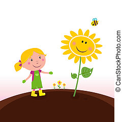 Little girl looking on flower growth in spring garden. Vector Illustration.