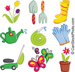 Spring gardening icons - A vector illustration of spring ...