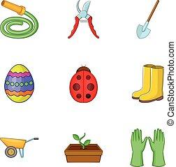 Spring gardening icons set, cartoon style