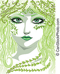 Beauty woman face with long hair and fresh green leaves.