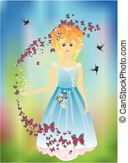 Spring girl in a blue dress,