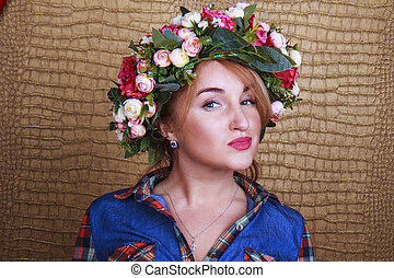 Spring girl in a wreath