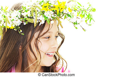 Spring girl on a white background