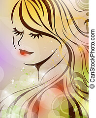 vector illustration of a beautiful woman on a colorful floral background