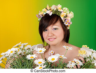 Spring girl with daisies