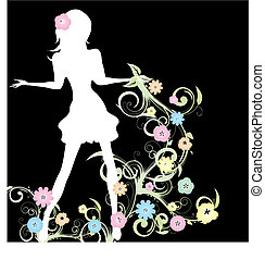 Spring girl with flowers and curlicue on black background, vector illustration