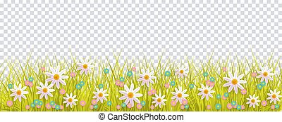 Spring grass and flowers border, Easter decoration