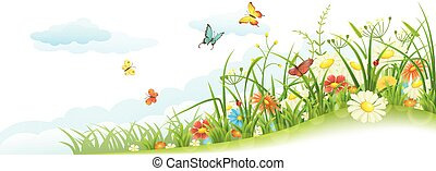 Green spring summer meadow with grass, flowers, butterfly and clouds