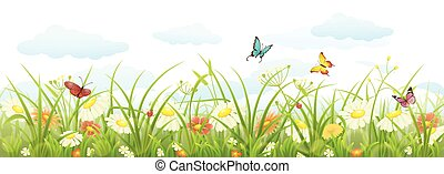 Spring grass and flowers - Spring summer banner with green...