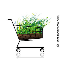 Spring grass in shopping cart for your design